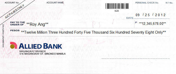 Printed Cheque of Allied Bank (Personal) in Philippines