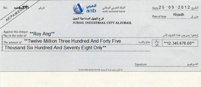 Printed Cheque of Arab National Bank (ANB) Saudi Arabia