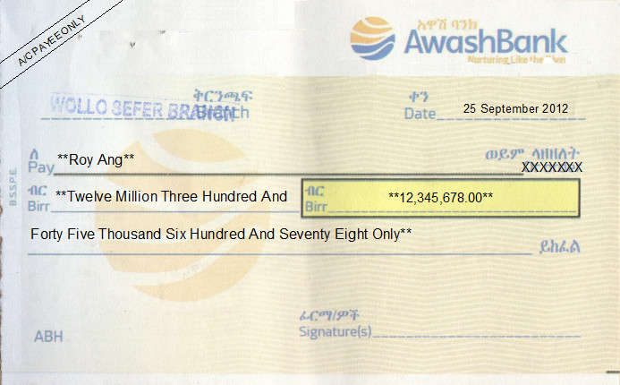 Printed Cheque of Awash Bank in Ethiopia
