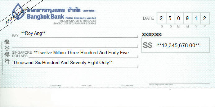 Printed Cheque of Bangkok Bank - 盤谷銀行 in Singapore