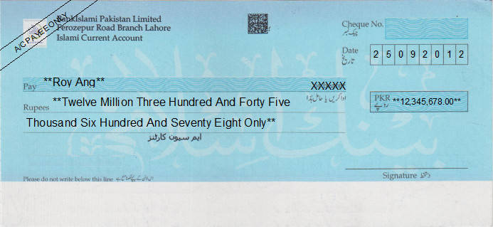 Printed Cheque of BankIslami Pakistan