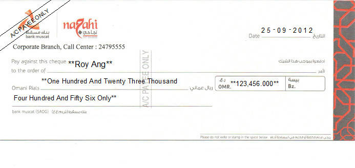 Printed Cheque of Bank Muscat - Najahi in Oman