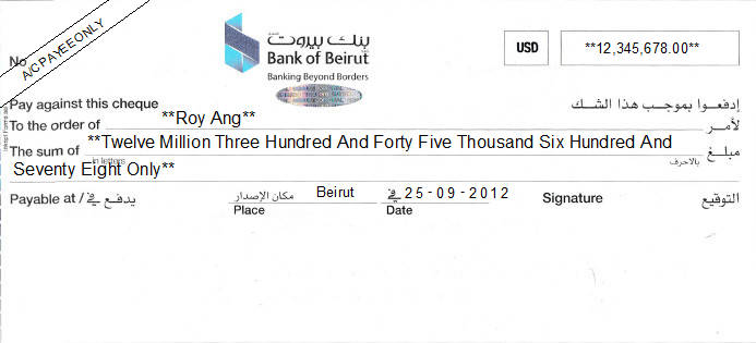 Printed Cheque of Bank of Beirut in Lebanon