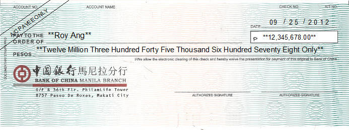 Printed Cheque of Bank of China (中國銀行) in Philippines