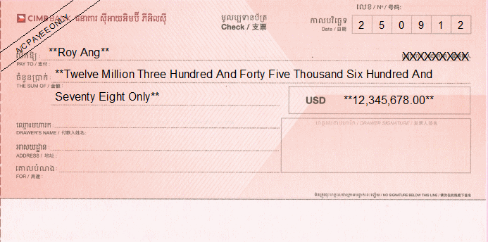 Printed Cheque of CIMB Bank Cambodia