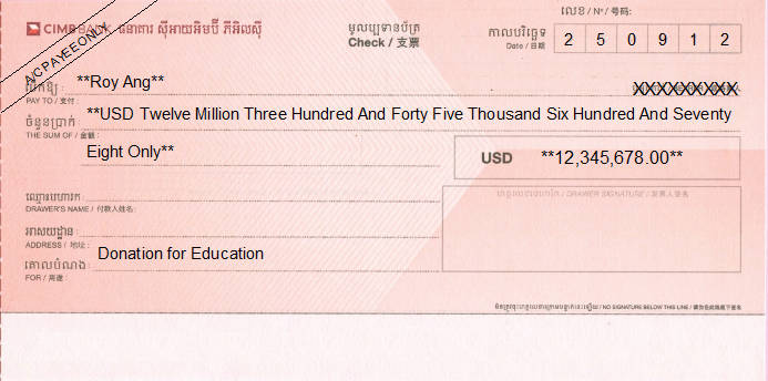 Printed Cheque of CIMB Bank in Cambodia