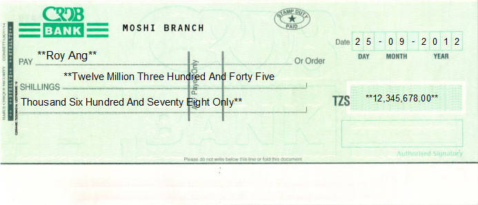 Printed Cheque of CRDB Bank in Tanzania
