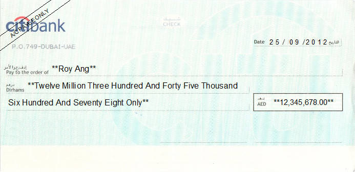 Printed Cheque of Citibank in UAE