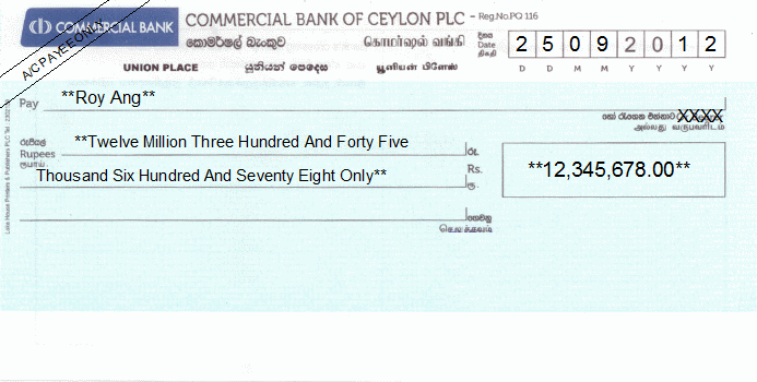 Printed Cheque of Commercial Bank of Ceylon in Sri Lanka