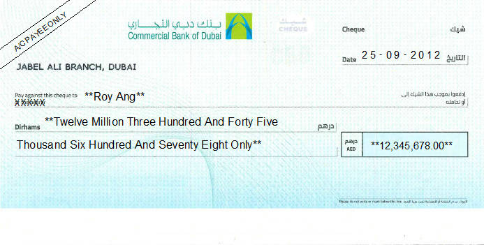 Printed Cheque of Commercial Bank of Dubai UAE