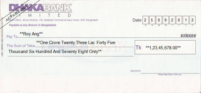 Printed Cheque of Dhaka Bank in Bangladesh