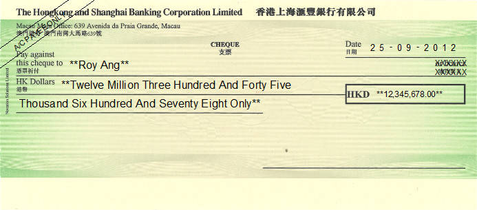 Printed Cheque of The Hongkong and Shanghai Bank (HKD) - 香港上海匯豐銀行 in Macau