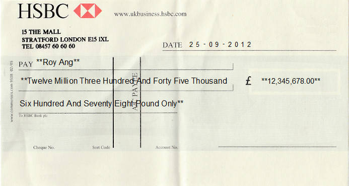 Printed Cheque of HSBC Bank in United Kingdom