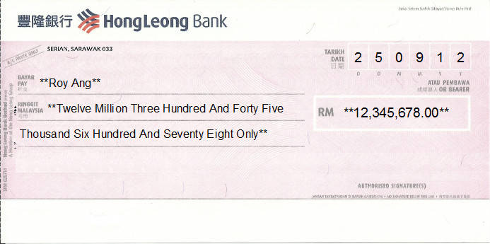 Printed Cheque of Hong Leong Bank in Malaysia