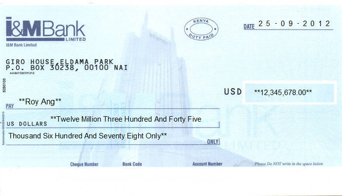 Printed Cheque of I&M Bank (USD) in Kenya