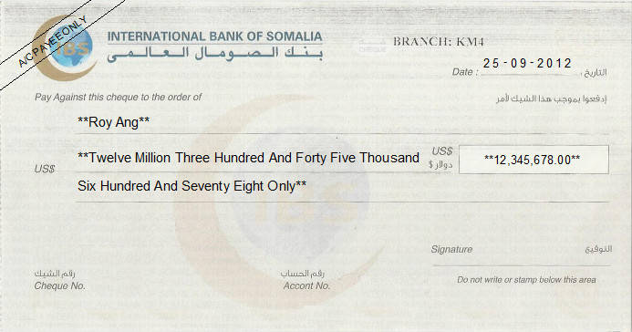 Printed Cheque of IBS (International Bank of Somalia) in Somalia