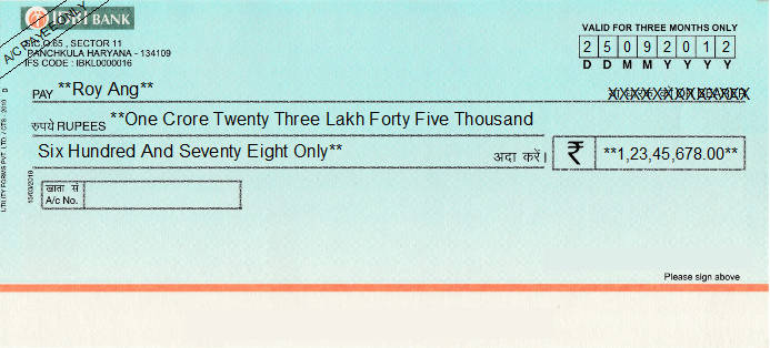 Printed Cheque of IDBI Bank India