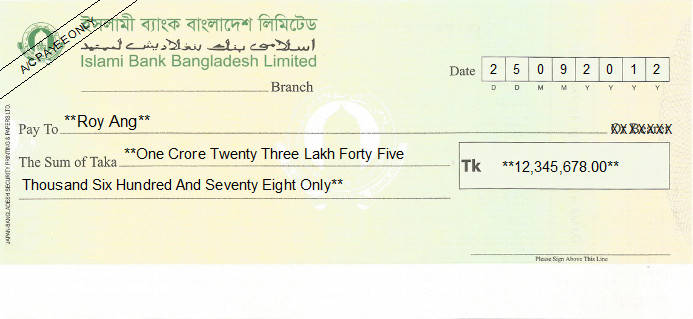 Printed Cheque of Islami Bank in Bangladesh