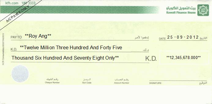 Printed Cheque of Kuwait Finance House in Kuwait