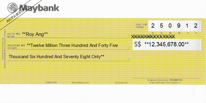 Printed Cheque of Maybank Singapore