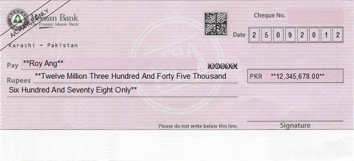 Printed Cheque of Meezan Bank Pakistan