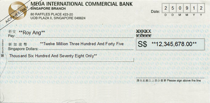 Printed Cheque of Mega International Commercial Bank in Singapore