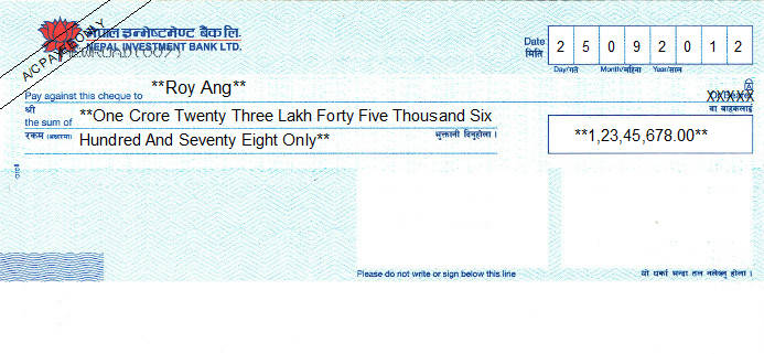 Printed Cheque of Nepal Investment Bank in Nepal