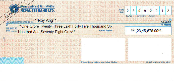 Printed Cheque of Nepal SBI Bank in Nepal
