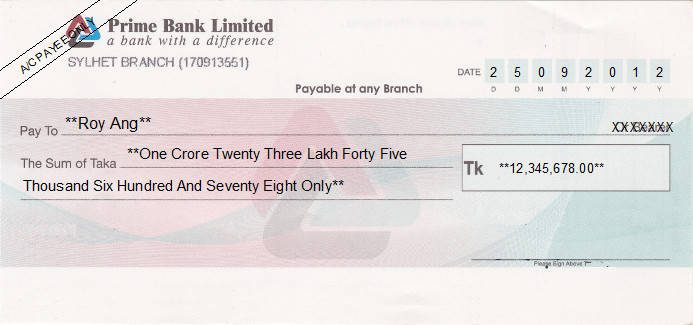 Printed Cheque of Prime Bank Limited in Bangladesh