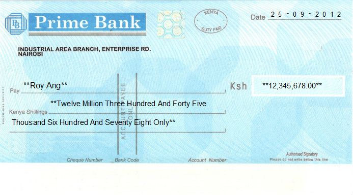 Printed Cheque of Prime Bank in Kenya