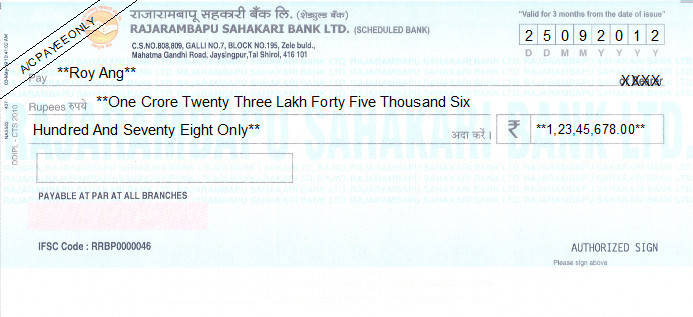 Printed Cheque of Rajarambapu Sahakari Bank in India