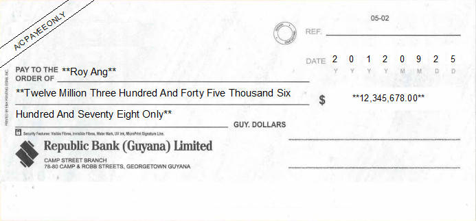 Printed Cheque of Republic Bank in Guyana