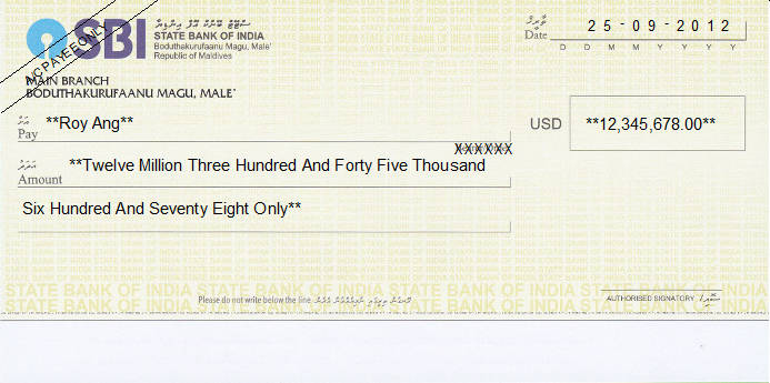 Printed Cheque of SBI - State Bank of India (US Dollar) in Maldives