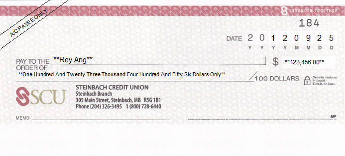 Printed Cheque of Steinbach Credit Union (SCU) in Canada