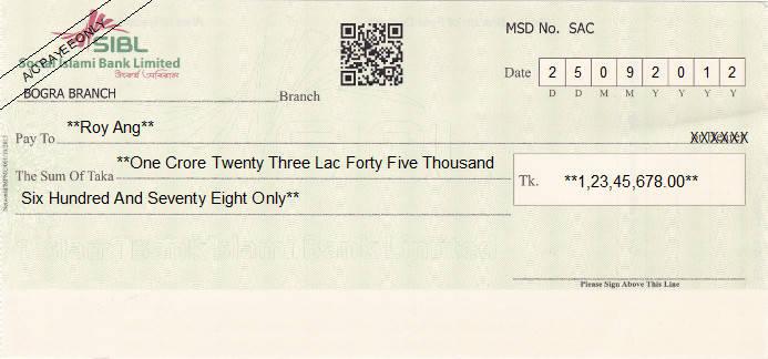 Printed Cheque of SIBL - Social Islami Bank in Bangladesh