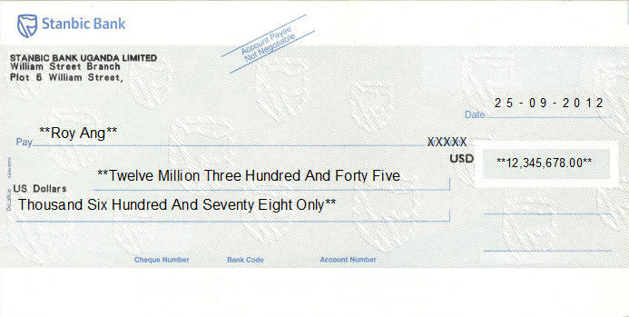 Printed Cheque of Stanbic Bank (USD) in Uganda