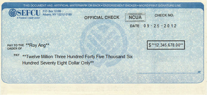 Printed Check of State Employees Federal Credit Union (SEFCU) in United States