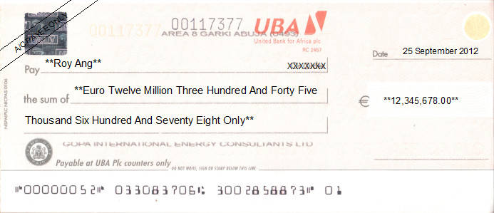Printed Cheque of UBA - United Bank for Africa (Euro) in Nigeria